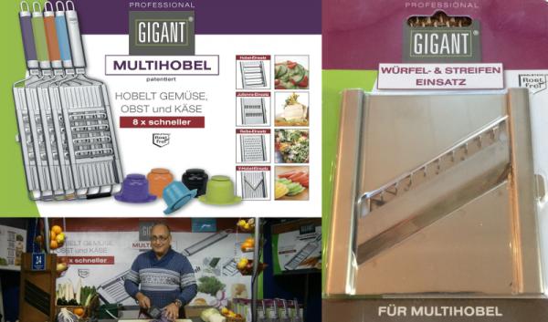 GIGANT Multihobel Set + Würfel & Streifen Einsatz + Edelstahlschäler